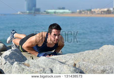Athlete Practicing Exercises Of Calisthenics