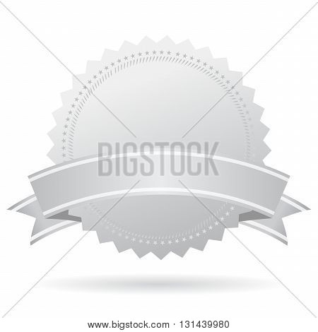Blank silver medal with ribbon isolated on white background