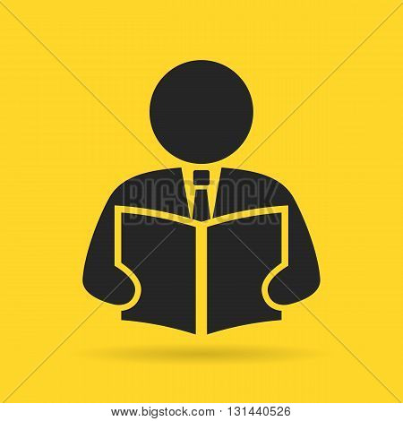 Reading person icon isolated on yellow background