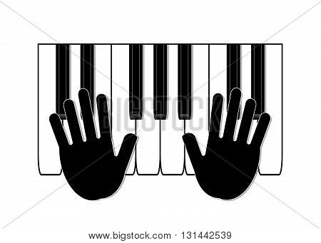 music. Silhouette of hands and key of a piano