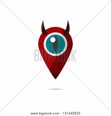 The devil marker icon to specify locations on the map.