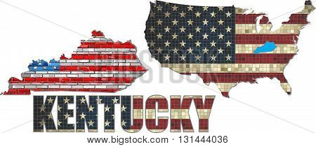 USA state of Kentucky on a brick wall - Illustration, The flag of the state of Kentucky on brick textured background,  Kentucky Flag painted on brick wall, Font with the United States flag,  Kentucky map on a brick wall