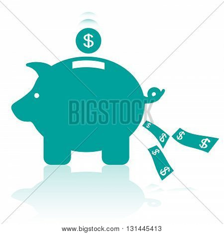 Piggy Bank Silhouette. Conceptual Vector Illustration Of A Money Box Representing Savings