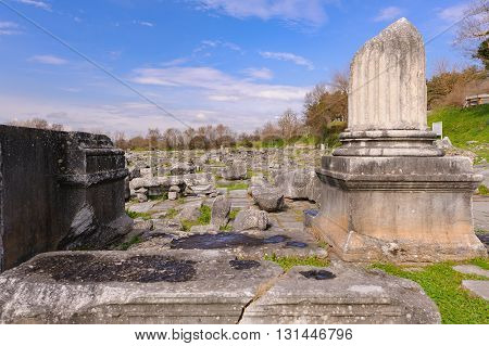 KRINIDES GREECE - FEBRUARY 25 2010: Ruins of the corinthian north-east temple at Philippi