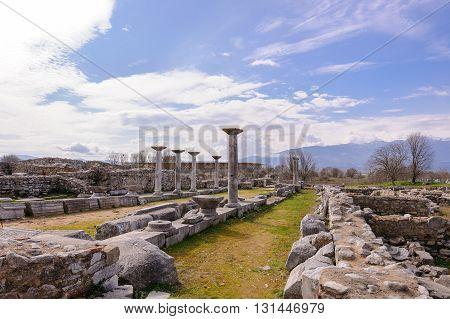 KRINIDES GREECE - FEBRUARY 25 2010: Various buildings such as the Episcopal palace baptismal area baths courtyards phiale and a monumental gateway towards the Via Egnatia
