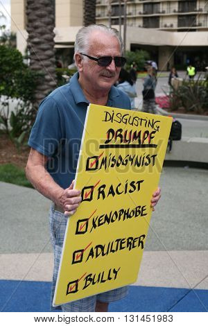 ANAHEIM CALIFORNIA, May 25, 2016:  Protesters wave signs and effigies at a rally for  Republican presidential candidate Donald Trump in Anaheim California 5.25.2016