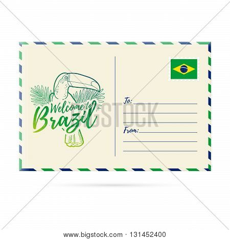 Postcard invitation with a picture toucan. Card Welcome to Brazil. Stamp with the national flag of Brazil. Invitation Welcome to Brazil. Vector illustration