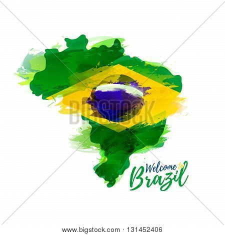 Symbol, poster, banner Brazil. Map of Brazil with the decoration of the national flag. Style watercolor drawing. Brazil map with national flag. Vector illustration