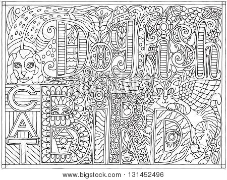 Adult coloring book poster page with font words dogfish catbird, black and white drawing, vector illustration