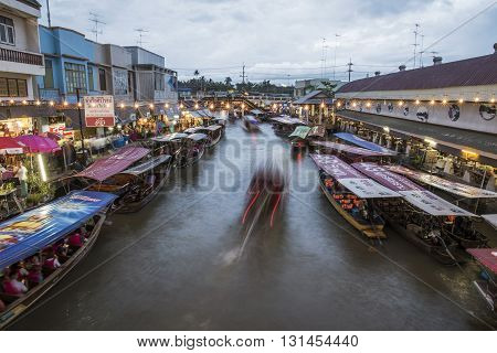 AMPHAWA THAILAND -Oct 3: Amphawa market canal most famous floating market and cultural tourist destination on October 3 2015 in Amphawa BangkokThailand.