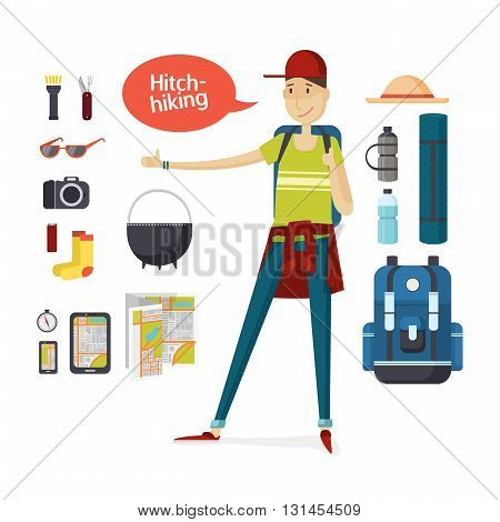 Traveler with big backpack hiking and travel gear in a cartoon style flat. Boy hitchhiking. Young man hitchhiking deals, tourism, hiking, travel. Set of camping equipment and travel. Vector illustration