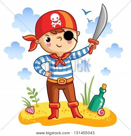 Vector illustration of a cute cartoon pirate on a sandy island with a bottle.
