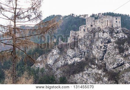 Old Castle STRECNO on rock at  Slovakia