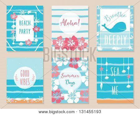 Summer Ocean and Beach Theme Hawaiian Posters and Cards. Vector Set