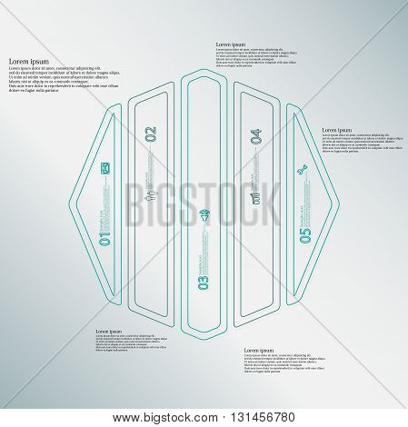 Illustration infographic template with motif of octagon. Octagon divided to five blue parts. Each part created by double outline contour. Each part contains number text and simple sign.