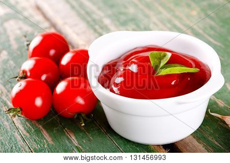 White Bowl Full Of Tomato Ketchup