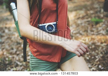 Camping Backpacker Photographer Camera Adventure Concept