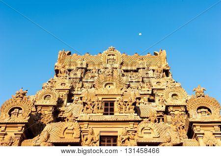 Low angle view of Brihadeshwara Temple, Thanjavur (Tanjore), India