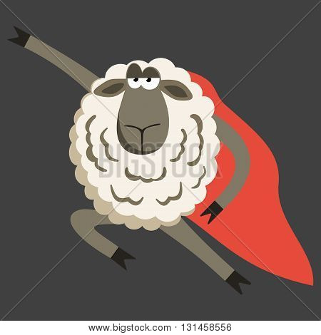 Stubborn Lamb superhero with red cloak. Sheep professional character. Vector illustration of stubborn super hero on dark background.