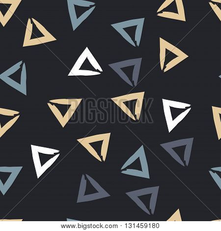 Cute Vector Geometric Seamless Pattern. Brush Strokes, Triangles. Endless Texture Can Be Used For Pr