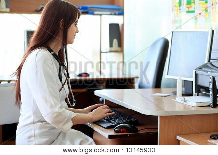 Medical theme: student in a classroom.