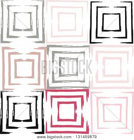 Cute Vector Geometric Seamless Pattern. Brush Strokes, Squares. Hand Drawn Grunge Texture. Abstract
