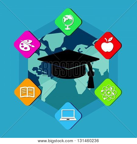 education signs with black graduate cap with tassel - white symbols in colorful flat design blocks over world map, internet learning concept icons, vector