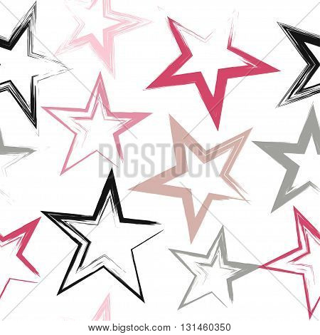 Cute Vector Geometric Seamless Pattern. Brush Strokes And Stars. Hand Drawn Grunge Texture. Abstract