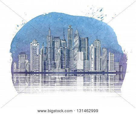 Modern City. Buildings and Skyscraper. Urban landscape banner. Vector illustration