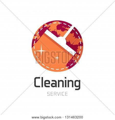 Cleaning service logo, orange house cleaning symbol, home water cleaning circle emblem, wet cleaning, mop flat icon, simple sign, label sticker vector illustration design isolated on white