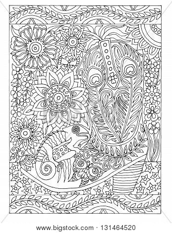 Adult coloring book poster page, vector illustration, black and white art drawing, southwest cowboy boot and lizard, intricate detailed font words for coloring