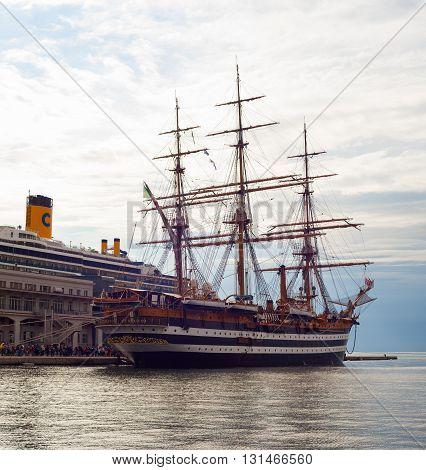 TRIESTE, ITALY - MAY, 15: The Amerigo Vespucci is a tall ship of the Marina Militare, named after the explorer Amerigo Vespucci on May 15, 2016