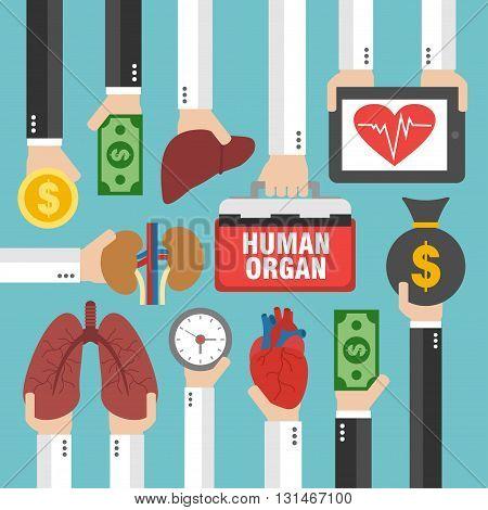 Human Transplantation infographic buying agencies flat design.Vector illustration