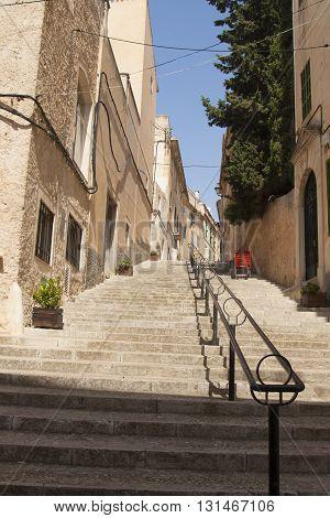 Stairs - street in Felanitx town on Majorca island, Spain