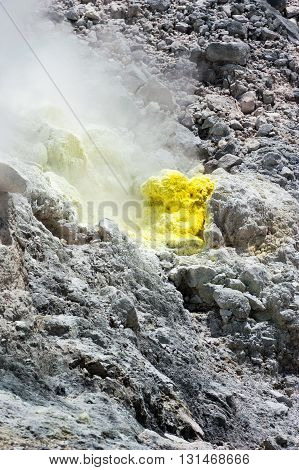 Sulfur fumarole at Mt. Sibayak volcan, Sumatra, Indonesia