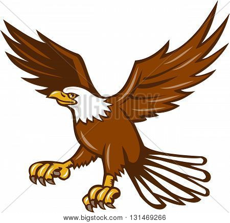 Illustration of an american bald eagle flying swooping viewed from the side set on isolated white background done in retro style.