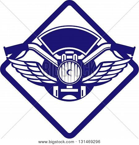 Illustration of a motorbike handlebar and headlamp with wings viewed from front set inside diamond shape done in retro style.