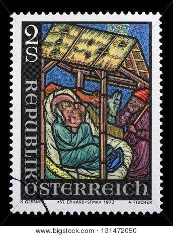 ZAGREB, CROATIA - SEPTEMBER 09: Christmas stamp printed by Austria, shows Nativity, circa 1973, on September 09, 2014, Zagreb, Croatia