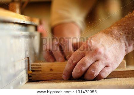 Carpenter's hands cutting piece of wood by cutter closeup