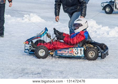 Feb. 2016: Competition (Go-kart) karting on ice in Cheboksary Chuvash Republic. February 23 2016.