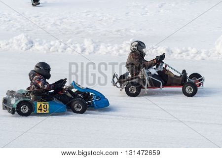 Feb 2016: Competition (Go-kart) karting on ice in Cheboksary Chuvash Republic. February 23 2016.