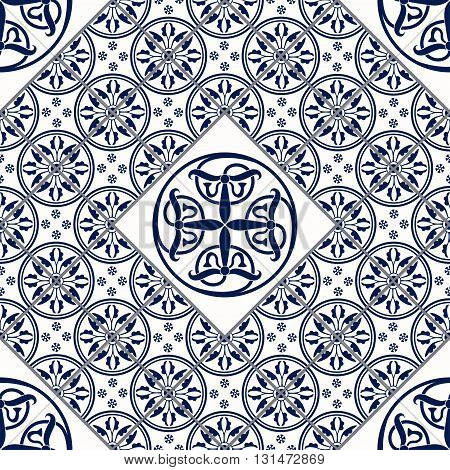 Vector Illustration of Moroccan tiles Seamless Pattern for Design, Website, Background, Banner. Spanish element for Wallpaper, Ceramic or Textile. Middle Ages Ornament Texture Template poster