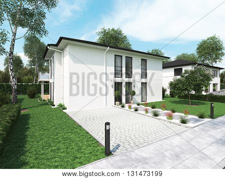 modern townhouse with a lot of green. 3d rendering