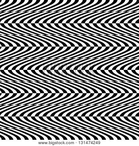 Wavy, Billowy Seamless Pattern. Abstract Monochrome Background.