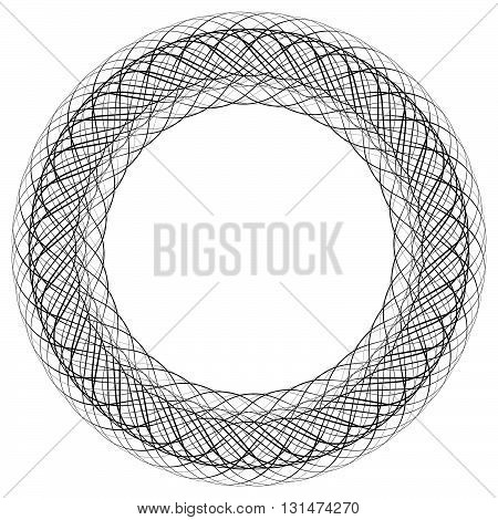 Circular Liny Illustration. Abstract Circle. Monochrome Geometric Element.