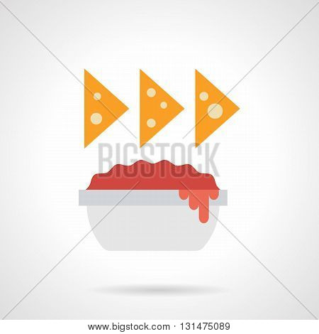 Three cheese nachos over bowl with red sauce. Spicy food for restaurant, vegetarian menu, traditional Mexican cuisine snacks. Flat color design vector icon.