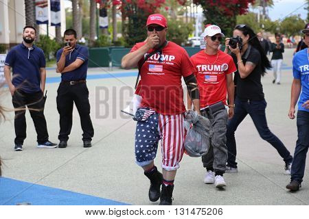 ANAHEIM CALIFORNIA, May 25, 2016: Supporters, wave signs and show their support for Presidential Candidate Donald J. Trump at the Anaheim Convention Center rally on.  5.25.2016