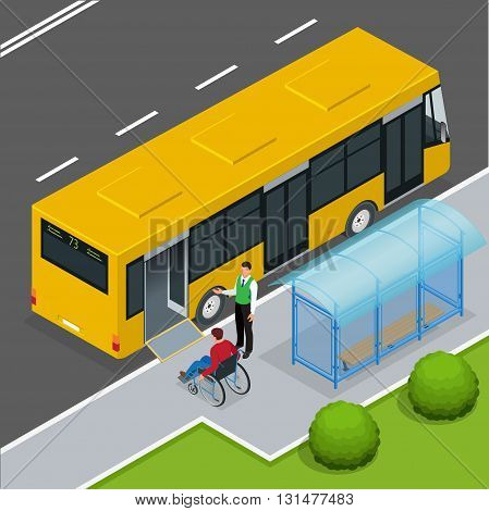Access ramp for disabled persons and babies in a bus. Man in a wheelchair at a bus stop. Driver helping Man enter into the Bus via wheelchair ramp. Flat 3d vector isometric illustration.