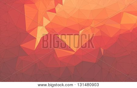 Low poly background design in geometric pattern. polygon wallpaper in origami style. polygonal texture illustration in color dark and light red and orange