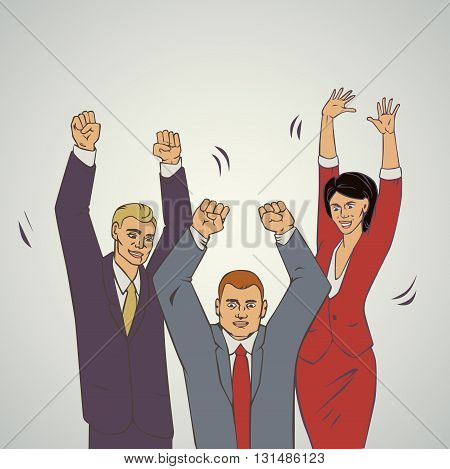 Vector illustration with group of office people who raise hands and happy